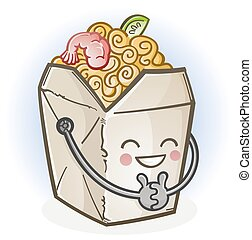 A cheerful Chinese food carry out box with a big smile and rosy cheeks