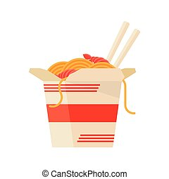 Chinese Food Take Out Box Cartoon - wok noodles icon on a...