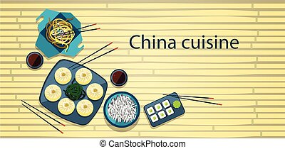 Chinese Food Traditional Asian Cuisine Bamboo Background...