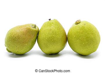 Chinese fragrant pear on white background, Fresh friut