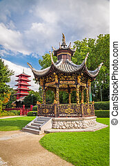 Chinese garden house and tower in Brussels, Belgium