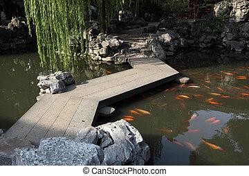 Chinese Garden with Koi Pond in Shanghai