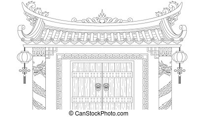 Chinese gate for coloring book and design element. Vector ...