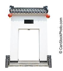 Chinese gate isolated on white background