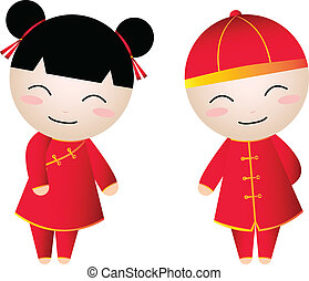 chinese girl-boy  - Chinese Girl-Boy Greetings