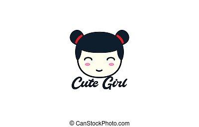 Chinese girl cute face happy logo vector icon design