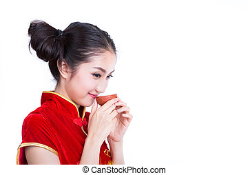 Chinese girl drink a tea