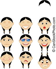 Chinese Girl Emoticon Emoji Stickers