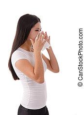 chinese girl flue on white background