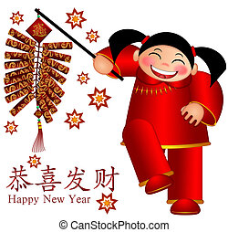 Chinese Girl Holding Firecrackers with Text Wishing Happiness and Fortune and Bringing in Wealth and Treasure in New Year Illustration