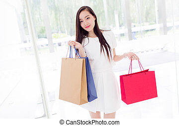 chinese girl in shopping mall