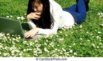 Chinese girl loving technology