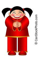 Chinese Girl Wishing Happy New Year Illustration