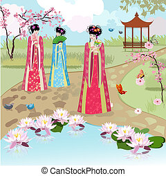 Chinese girls at the pond