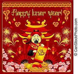 Chinese god of prosperity card for New Year design