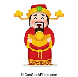 Chinese God of Wealth. Chinese New Year 2018 greeting card.