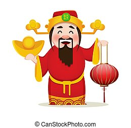Chinese God of Wealth holding traditional lantern