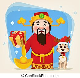 Chinese God of Wealth holding gift box and cute dog sitting near him.