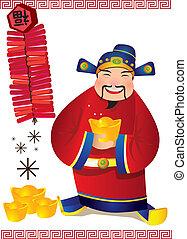 Chinese God of Wealth - Illustration - Choy San - God of ...