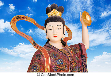 Chinese God on blue sky background in chinese Tample , ...