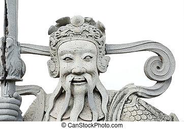 Chinese god statue in Wat Pho Buddhist Temple , Bangkok, Thailan