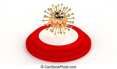 Chinese gold coronavirus on podium for medical design. Influenza pandemic. China pathogen. Able to loop seamless 4k