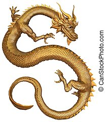 Chinese Gold Dragon - Chinese Dragon with gold metal scales,...