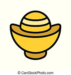 Chinese gold ingot vector, Chinese lunar new year filled outline icon