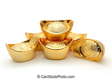 Chinese gold ingots - Decoration of chinese gold ingots in...