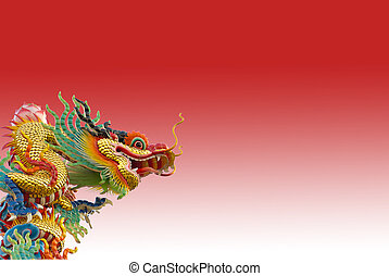 Chinese golden dragon on red background isolated