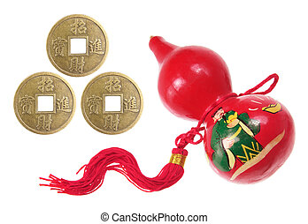 Chinese Gourd Decoration and Antique Coins