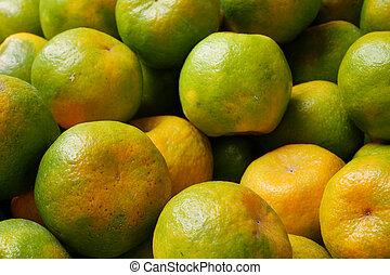 Chinese green tangerine oranges