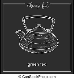 Chinese green tea pot chalk sketch for China Asian cuisine...