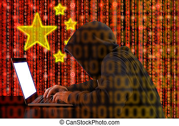 Chinese hacker at work in front of red flag