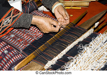 Chinese handcraft weave - Chinese woman weaving with...
