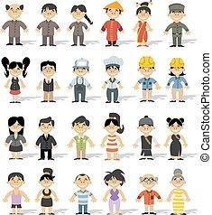 chinese happy cartoon people