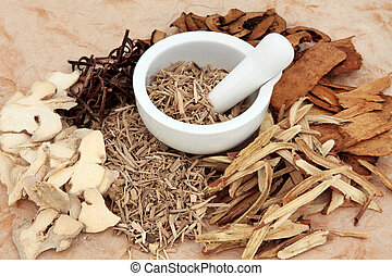 Chinese Herbal Medicine - Chinese herb selection with mortar...