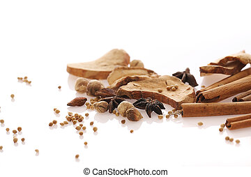 Chinese herbal medicine isolated in white background