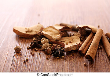 Chinese herbal medicine isolated in wood background