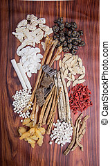 chinese herbal medicine on background