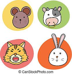 chinese horoscope animal set