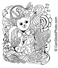 Doodle of a cat, vector illustration