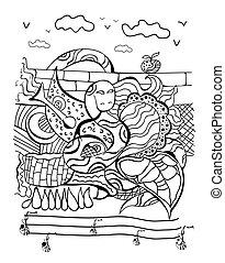 Doodle of a snake, vector illustration