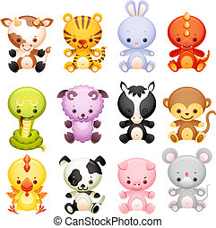 Vector illustration - set characters of chinese horoscope