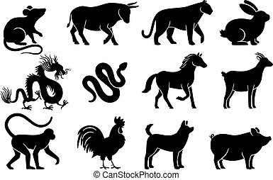 Chinese horoscope silhouettes