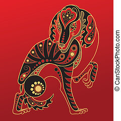 Chinese horoscope. Year of dog - Illustration of a dog in...