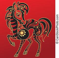Chinese horoscope. Year of horse - Illustration of a horse...
