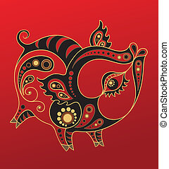 Chinese horoscope. Year of pig - Illustration of a pig in...