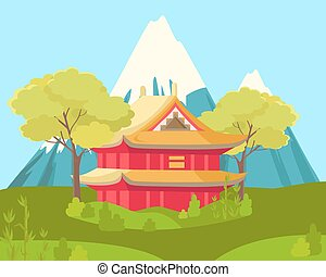 Chinese House in Mountains. Landscape Illustration