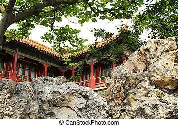 Chinese house with stone.